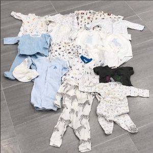 Bundle of baby boy clothes, NB to 6 months